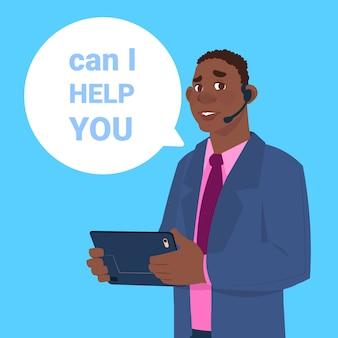Suporte centro fone de ouvido agente homem africano cliente on-line operador cliente e serviço técnico ícone bate-papo conceito