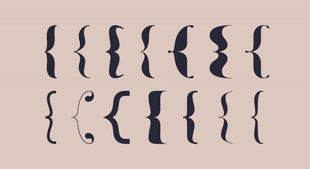 Suporte, chaves, parênteses. conjunto de tipografia de colchetes