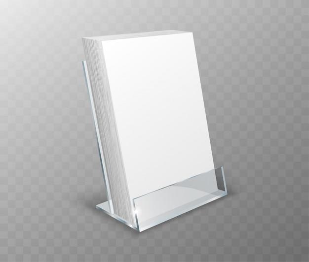 Suporte de acrílico, visor de mesa com cartões em branco
