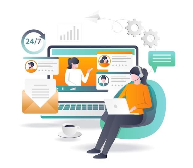 Suporte de atendimento ao cliente 24 horas em design plano