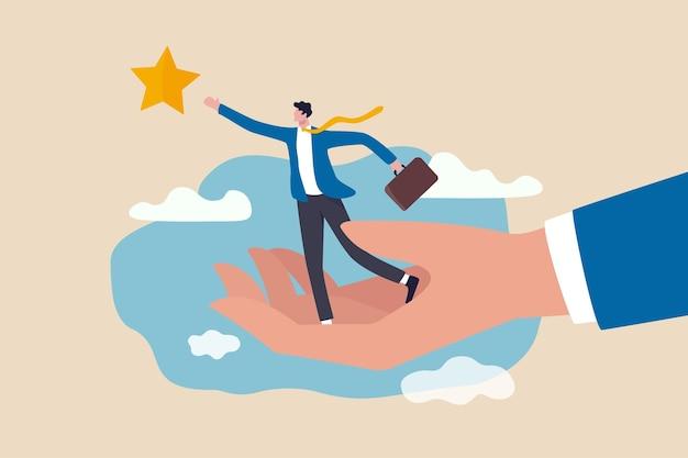 Suporte de desenvolvimento de carreira, assistente ou mentor para ajudar a alcançar a meta de negócios para atingir o conceito alvo