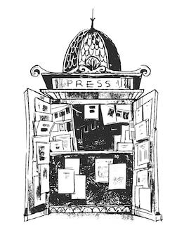 Suporte de imprensa, ilustração vetorial de quiosque de jornal