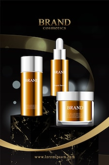 Suporte de mármore preto para exposição de produtos cosméticos