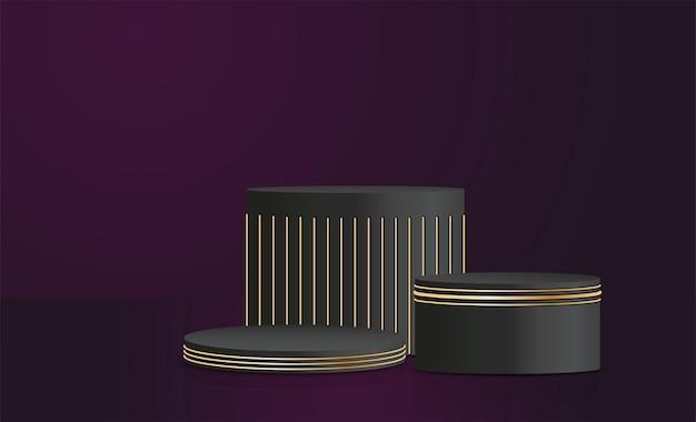 Suporte de produto vetorial nas cores preta e dourada, fundo de conceito de luxo, simulação de apresentação, design de pedestal de palco de exibição cosmética