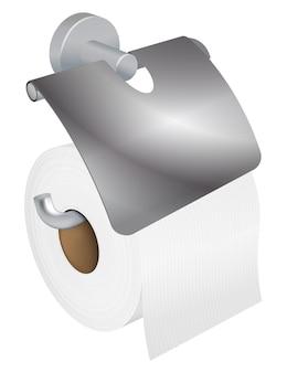 Suporte de rolo de papel higiênico realista de vetor em fundo branco