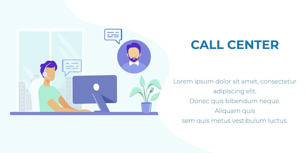 Suporte global on-line no banner de anúncio do call center