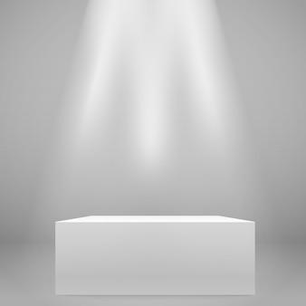 Suporte largo iluminado branco na parede. maquete de vetor