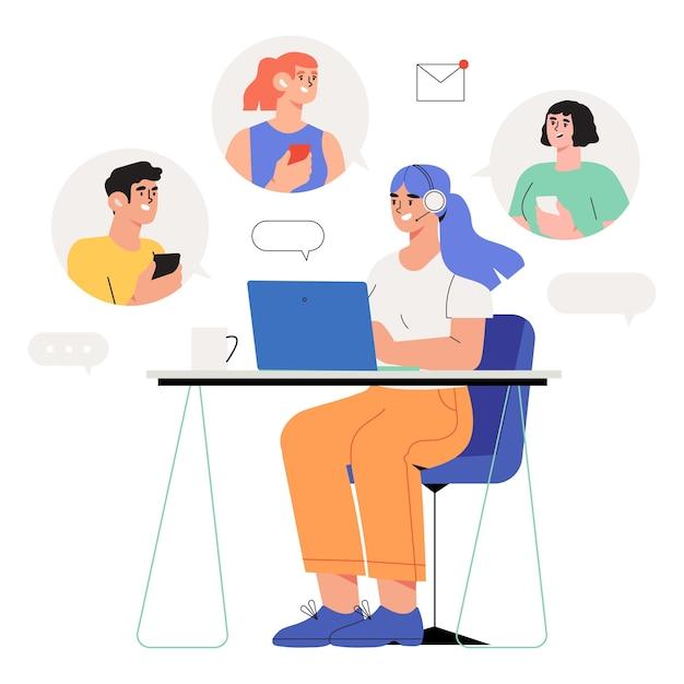 Suporte on-line do trabalhador de atendimento ao cliente