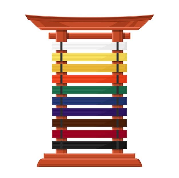 Suporte para cintos de caratê em madeira estilo asiático com travessas multicoloridas.