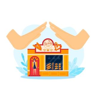 Suporte para ilustração de negócios de padaria e mercado local. loja pequena com comida, loja de pão varejista comercial. arquitetura de varejo