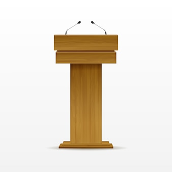 Suporte para tribuna de tribuna de madeira com pódio com microfone