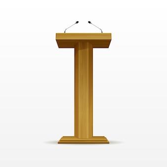 Suporte para tribuna de tribuna de madeira no pódio com microfones