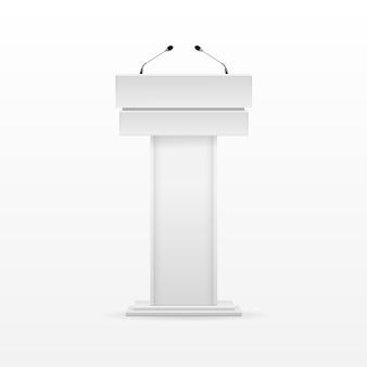 Suporte para tribuna tribuna branca com pódio com microfone