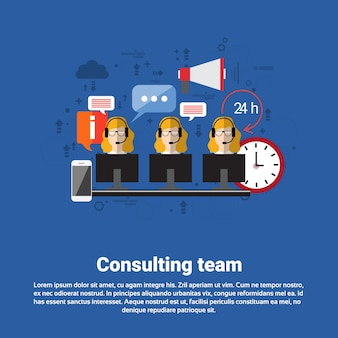 Suporte técnico da equipe de consultoria chat on-line técnico