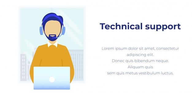 Suporte técnico on-line em anúncios modernos de call center