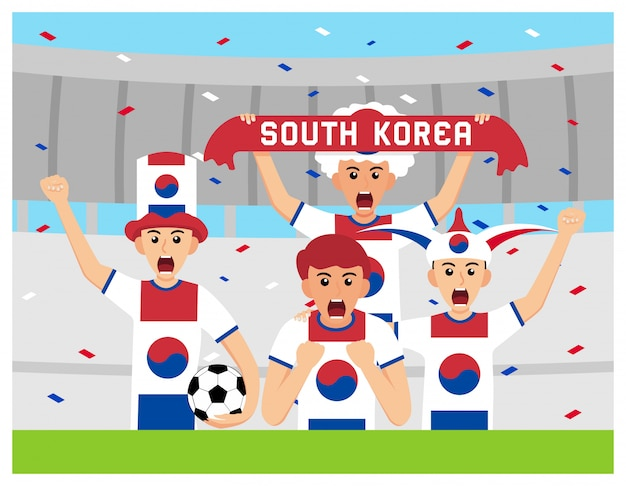 Suportes da coréia do sul em design plano