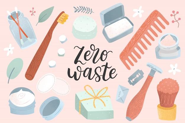 Suprimentos de desperdício zero para higiene pessoal e pele, cuidados com os cabelos, sabonete natural, escova de dentes de bambu, almofadas de algodão reutilizáveis e protetores auriculares, escova de madeira natural. estilo de vida sustentável.