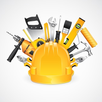 Suprimentos de ferramentas de construção para construtor de construção de casa