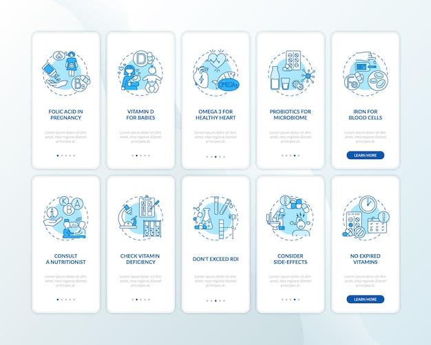 Suprimentos essenciais, dicas de consumo na tela da página do aplicativo móvel com conceitos definidos