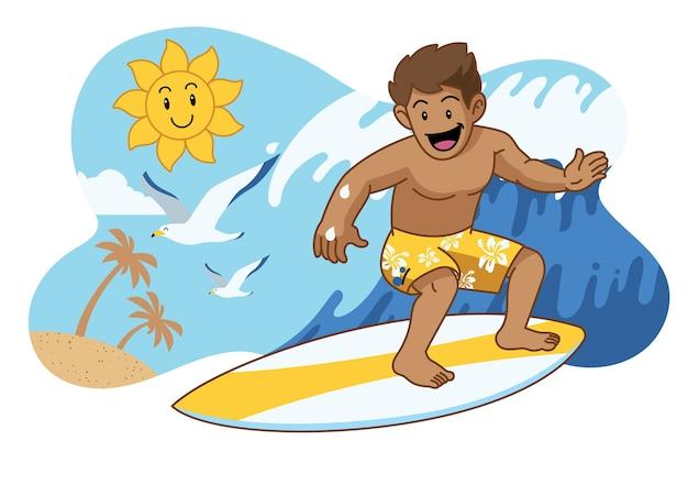 Surf bonito dos desenhos animados Vetor Premium