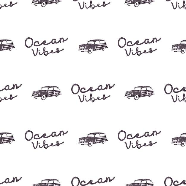 Surf design de padrão de carro de estilo antigo. papel de parede sem costura de verão com van de surf, sinal de tipografia de vibrações do oceano. carro combi monocromático. vetor. para impressão em tecido, projetos da web, camisetas ou designs de camisetas.