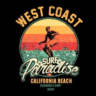 Surf design ilustração, paraíso do surf