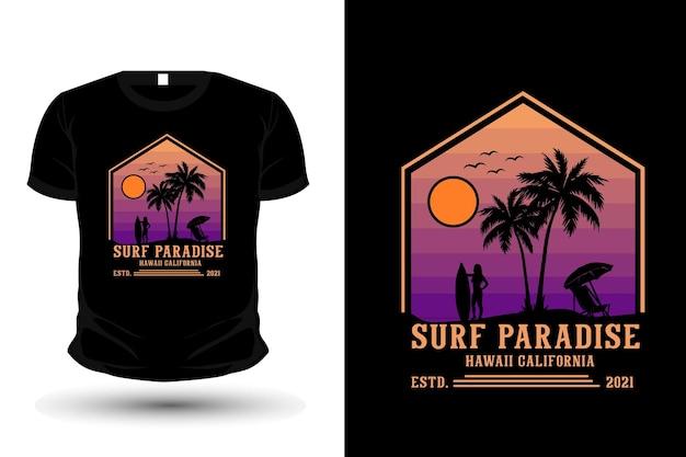 Surf paraíso havaí califórnia mercadorias silhueta t-shirt design estilo retro