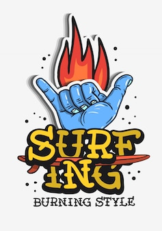 Surf surf temático vintage tatuagem tradicional
