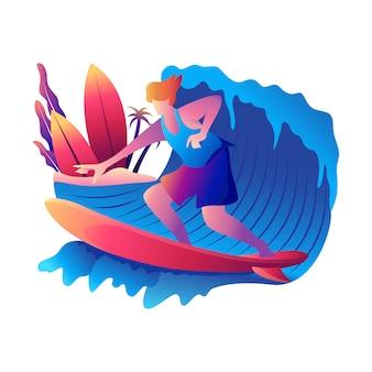 Surfando na ilustração de praia