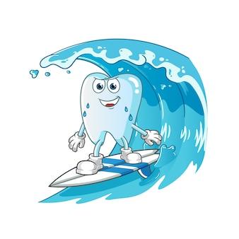 Surfando os dentes na ilustração do personagem da onda
