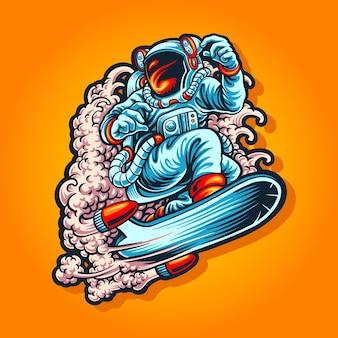 Surfar no céu com ilustração de traje de astronauta
