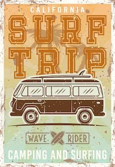 Surfar poster vintage colorido com ônibus