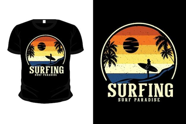 Surfe surf paraíso de mercadorias maquete de camiseta com design de camiseta