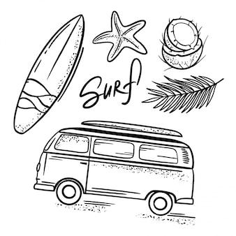 Surfing sea travel relaxe conjunto de ilustrações desenhadas à mão