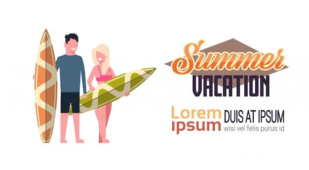 Surfista casal verão férias homem mulher prancha de surf isolada