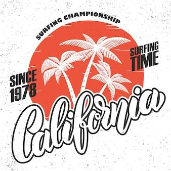 Surfista da califórnia. modelo de cartaz com letras e palmas das mãos. imagem