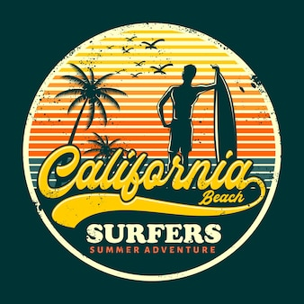Surfista da califórnia para impressão gráfica