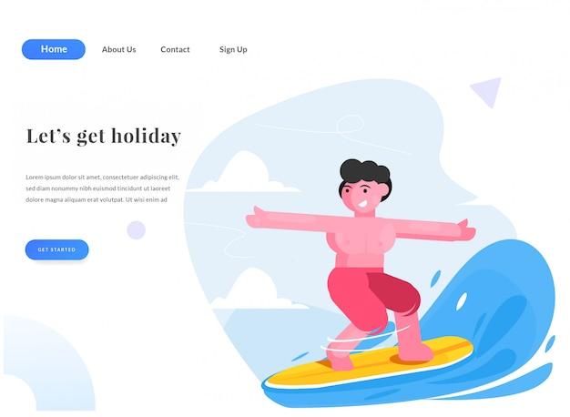Surfista da página de destino da web
