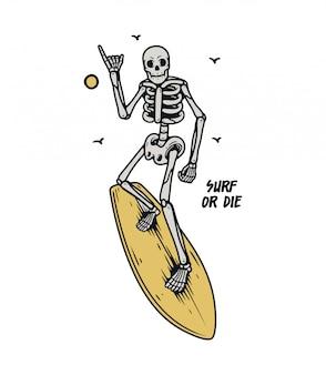 Surfista de caveira premium