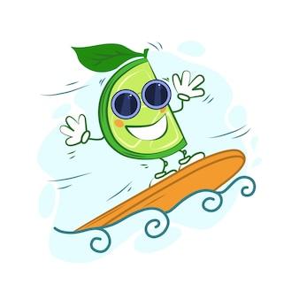 Surfista de limão dos desenhos animados em um fundo branco e isolado. ilustração vetorial.