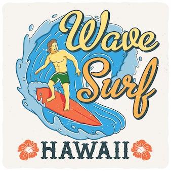 Surfista havaiano na onda