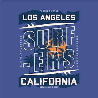 Surfista los angeles califórnia design gráfico tipografia camiseta verão aventura