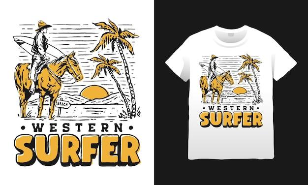 Surfista ocidental cowboy na ilustração da praia