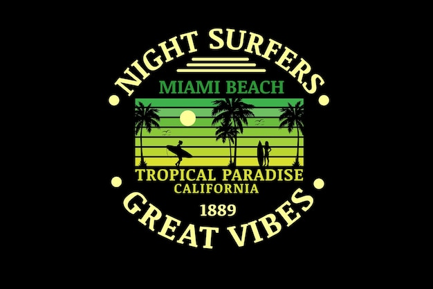 Surfistas noturnos em miami beach paraíso tropical cor verde gradiente