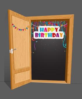 Surpresa de aniversário com porta aberta