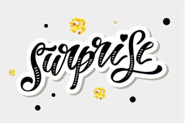 Surpresa lettering caligrafia escova texto holiday vector autocolante ouro