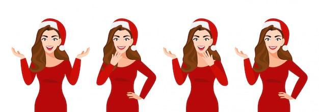 Surpresa mulher bonita de natal com chapéu de papai noel