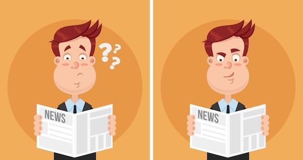 Surpreso e perplexo expressão rosto homem empresário gerente escritório trabalhador personagem lendo artigo de texto de jornal. conceito de tablóide de notícias diárias. emoções facais