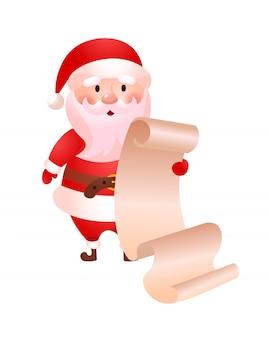 Surpreso papai noel lendo longa lista de presentes de natal