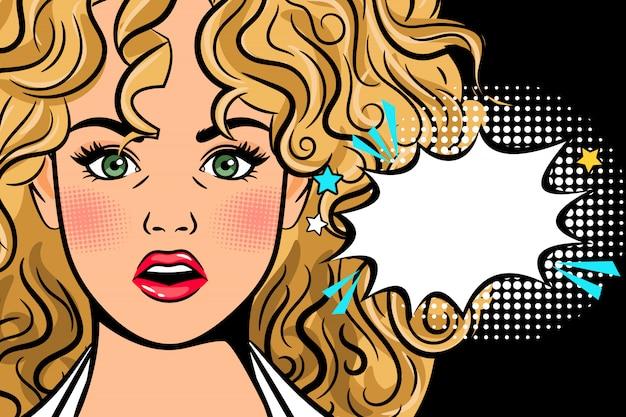 Surpreso pop art mulher ilustração com bolha do discurso